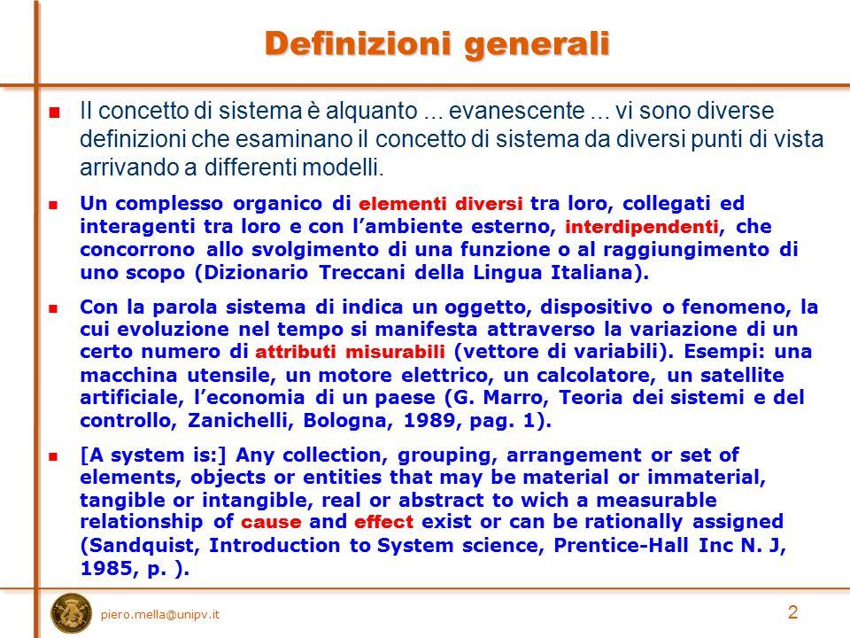 Definizioni generali Il concetto di sistema è alquanto... evanescente... vi sono diverse definizioni che esaminano il concetto di sistema da diversi p