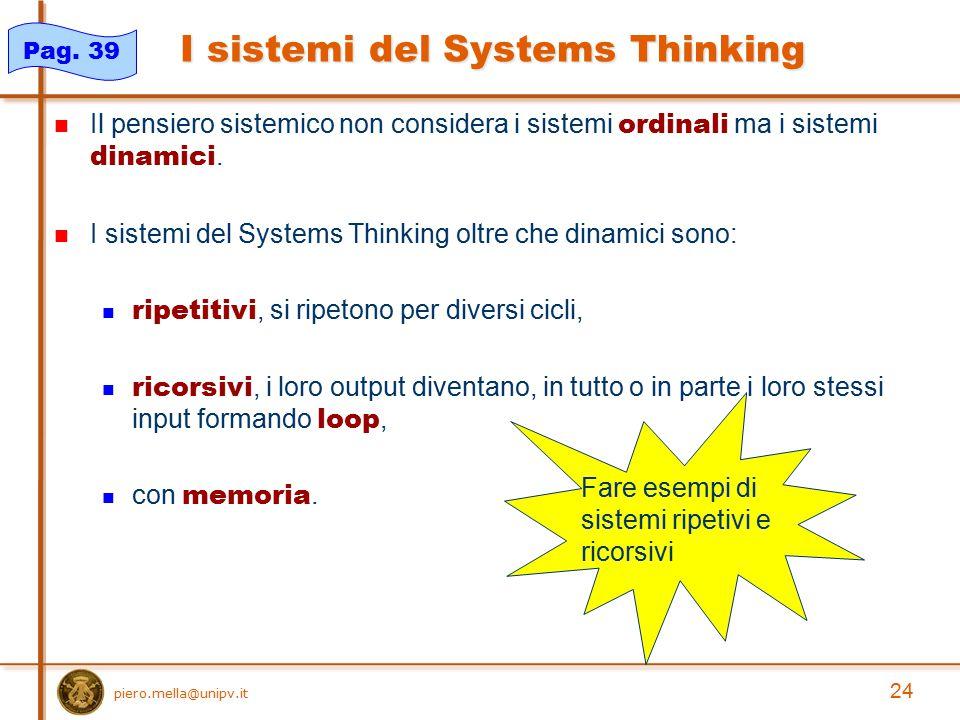 I sistemi del Systems Thinking Il pensiero sistemico non considera i sistemi ordinali ma i sistemi dinamici. I sistemi del Systems Thinking oltre che