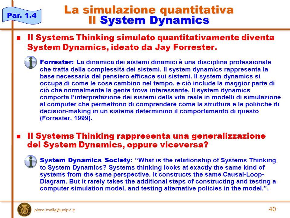 La simulazione quantitativa Il System Dynamics Il Systems Thinking simulato quantitativamente diventa System Dynamics, ideato da Jay Forrester. Forres