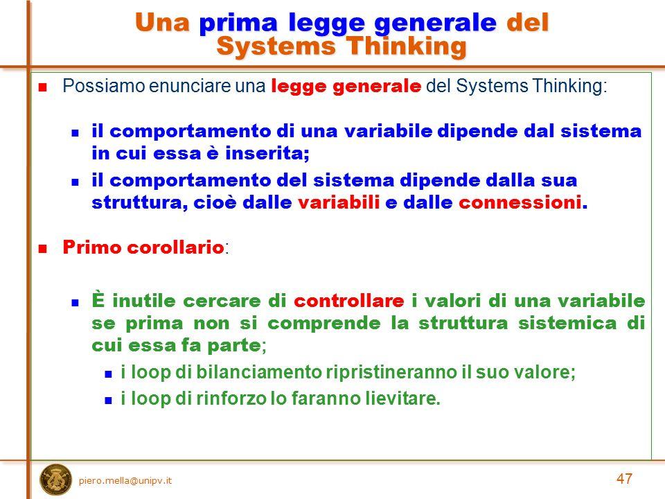 piero.mella@unipv.it Possiamo enunciare una legge generale del Systems Thinking: il comportamento di una variabile dipende dal sistema in cui essa è i