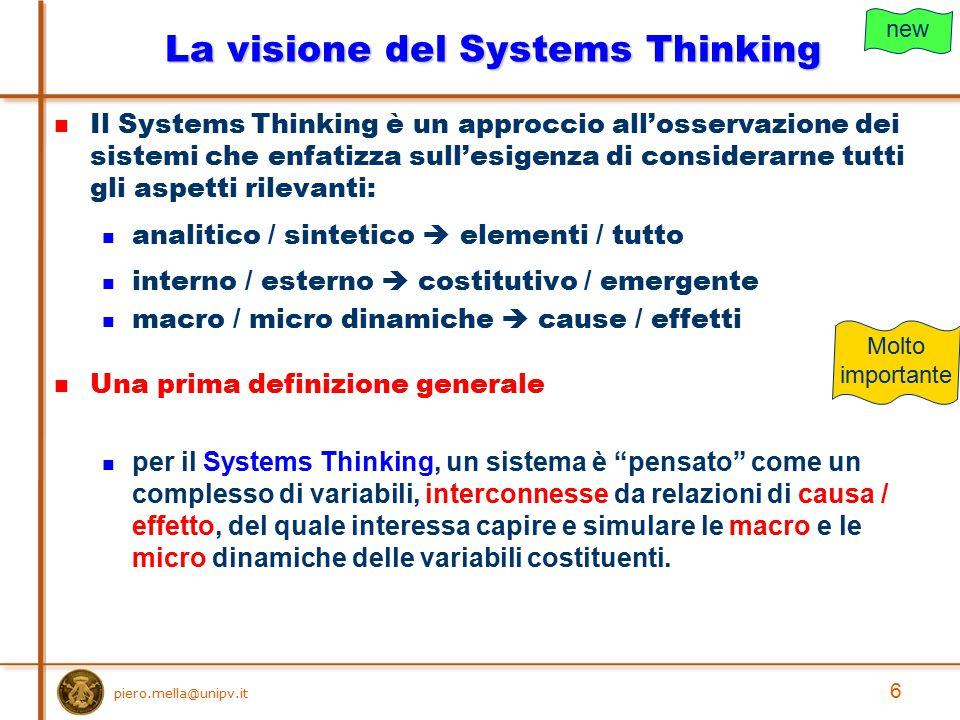 piero.mella@unipv.it Possiamo enunciare una legge generale del Systems Thinking: il comportamento di una variabile dipende dal sistema in cui essa è inserita; il comportamento del sistema dipende dalla sua struttura, cioè dalle variabili e dalle connessioni.