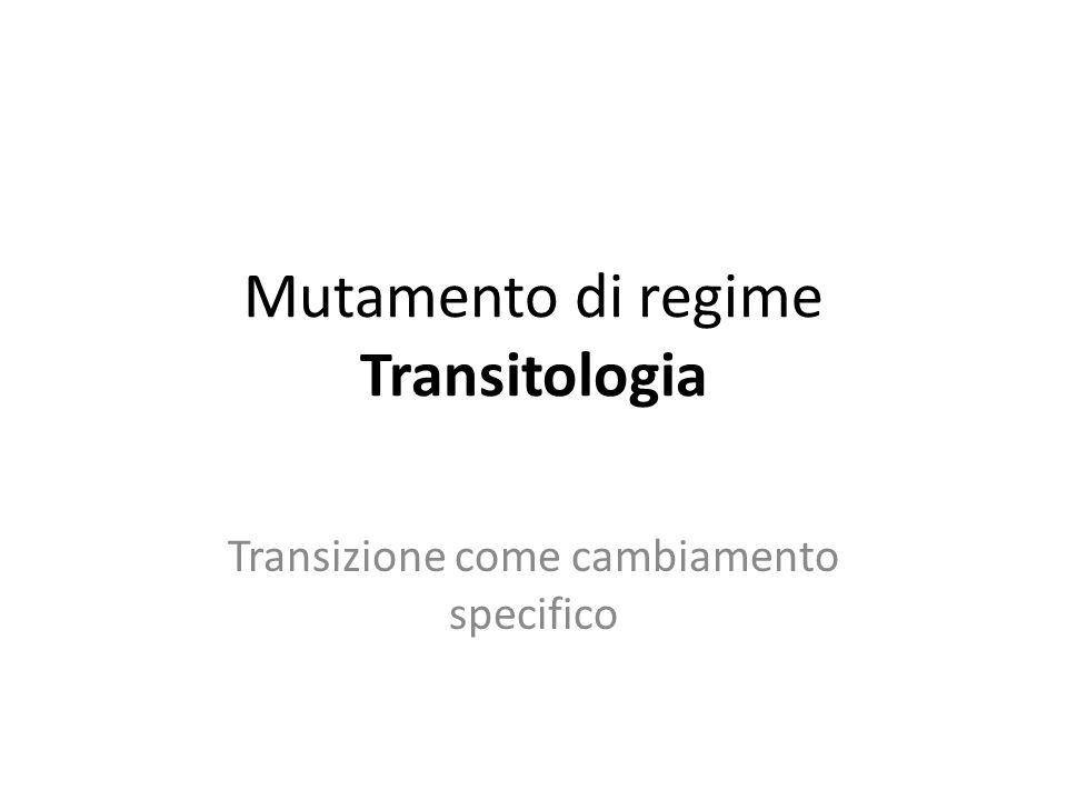 Mutamento di regime Transitologia Transizione come cambiamento specifico