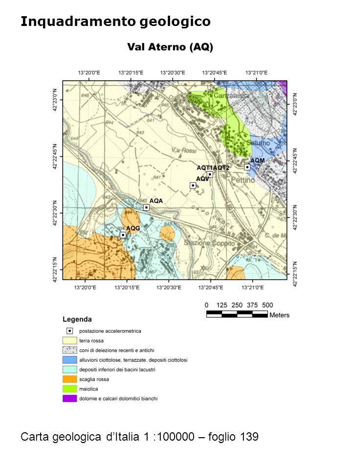Inquadramento geologico Carta geologica d'Italia 1 :100000 – foglio 139