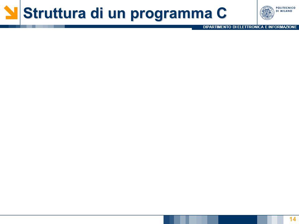 DIPARTIMENTO DI ELETTRONICA E INFORMAZIONE 14 Struttura di un programma C