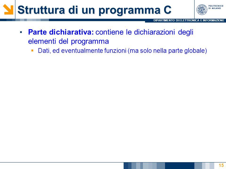 DIPARTIMENTO DI ELETTRONICA E INFORMAZIONE 15 Parte dichiarativa: contiene le dichiarazioni degli elementi del programma  Dati, ed eventualmente funz