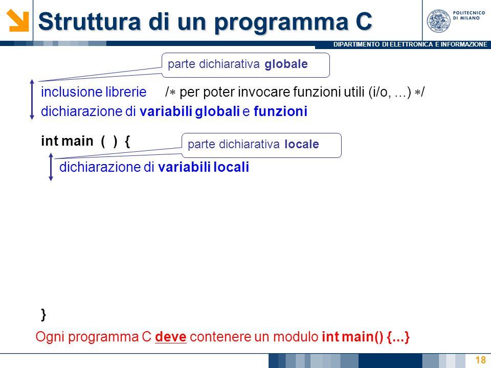 DIPARTIMENTO DI ELETTRONICA E INFORMAZIONE 18 Struttura di un programma C inclusione librerie /  per poter invocare funzioni utili (i/o,...)  / dich