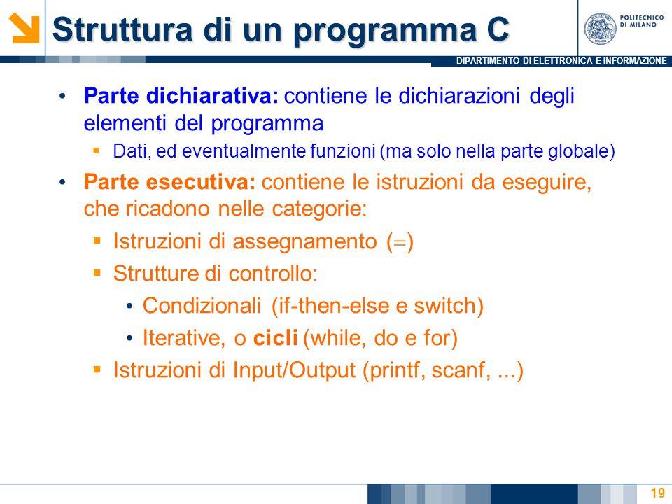 DIPARTIMENTO DI ELETTRONICA E INFORMAZIONE 19 Parte dichiarativa: contiene le dichiarazioni degli elementi del programma  Dati, ed eventualmente funz