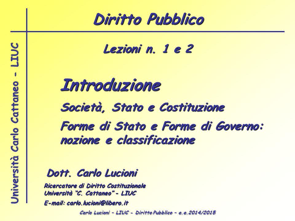 Carlo Lucioni – LIUC - Diritto Pubblico – a.a.2014/2015 Università Carlo Cattaneo - LIUC Introduzione Dott. Carlo Lucioni Ricercatore di Diritto Costi