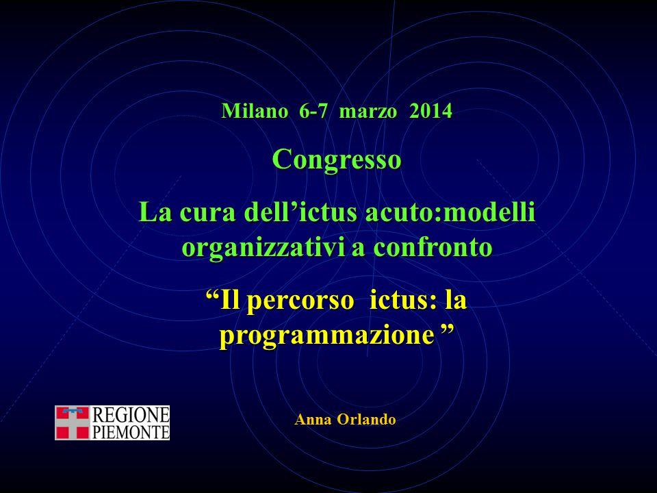 """Milano 6-7 marzo 2014 Congresso La cura dell'ictus acuto:modelli organizzativi a confronto """"Il percorso ictus: la programmazione """" Anna Orlando"""