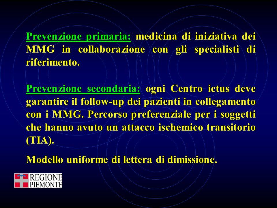 Prevenzione primaria: medicina di iniziativa dei MMG in collaborazione con gli specialisti di riferimento. Prevenzione secondaria: ogni Centro ictus d