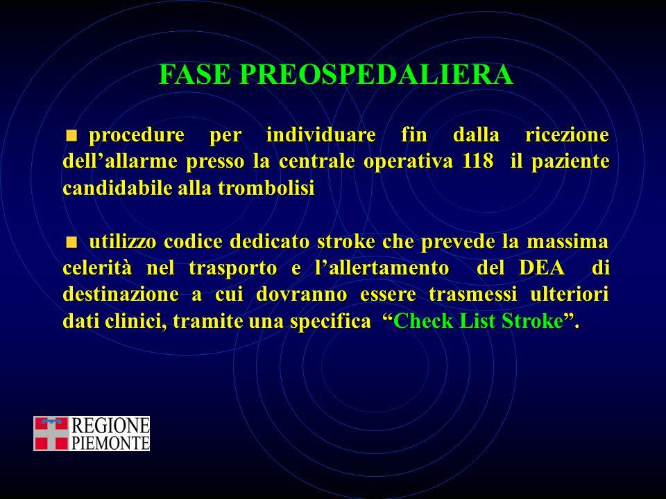FASE PREOSPEDALIERA procedure per individuare fin dalla ricezione dell'allarme presso la centrale operativa 118 il paziente candidabile alla trombolis