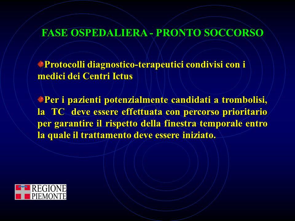 Protocolli diagnostico-terapeutici condivisi con i medici dei Centri Ictus Per i pazienti potenzialmente candidati a trombolisi, la TC deve essere eff