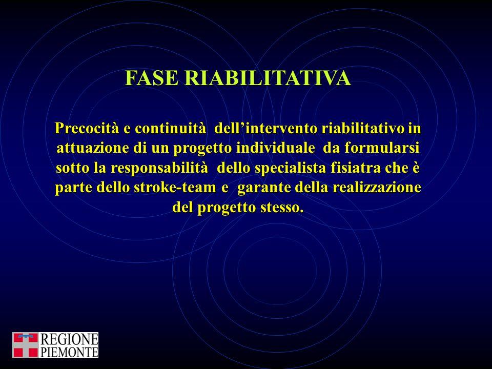 FASE RIABILITATIVA Precocità e continuità dell'intervento riabilitativo in attuazione di un progetto individuale da formularsi sotto la responsabilità