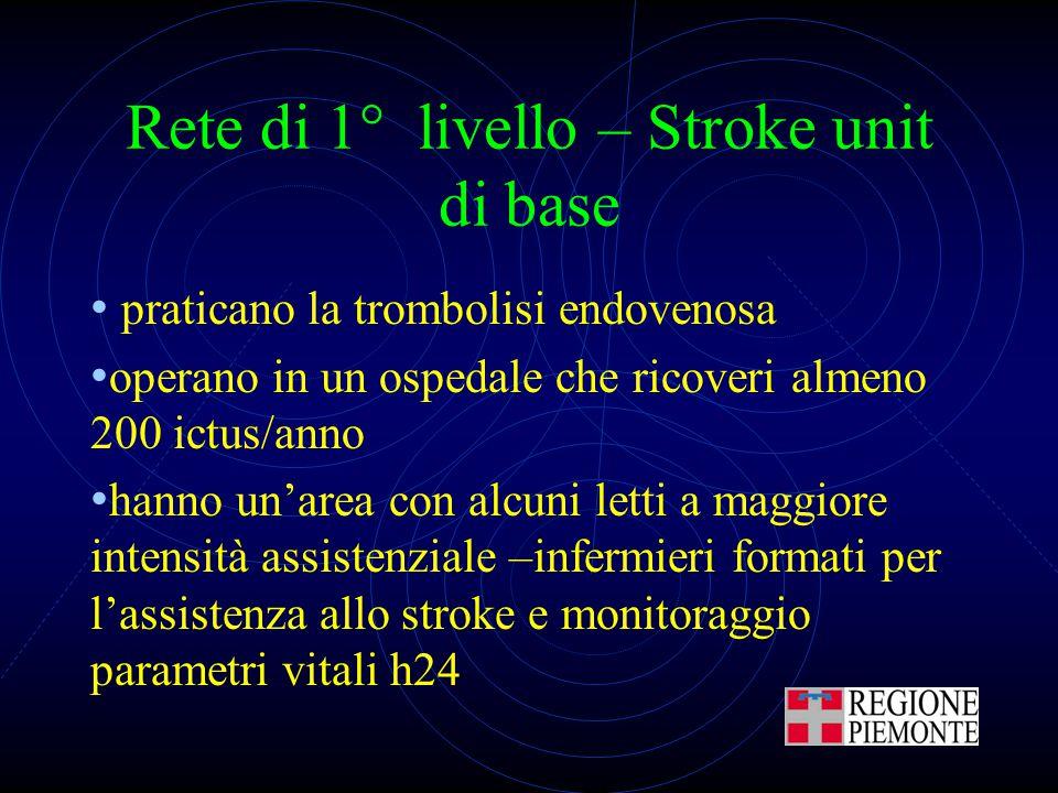 Rete di 1° livello – Stroke unit di base praticano la trombolisi endovenosa operano in un ospedale che ricoveri almeno 200 ictus/anno hanno un'area co
