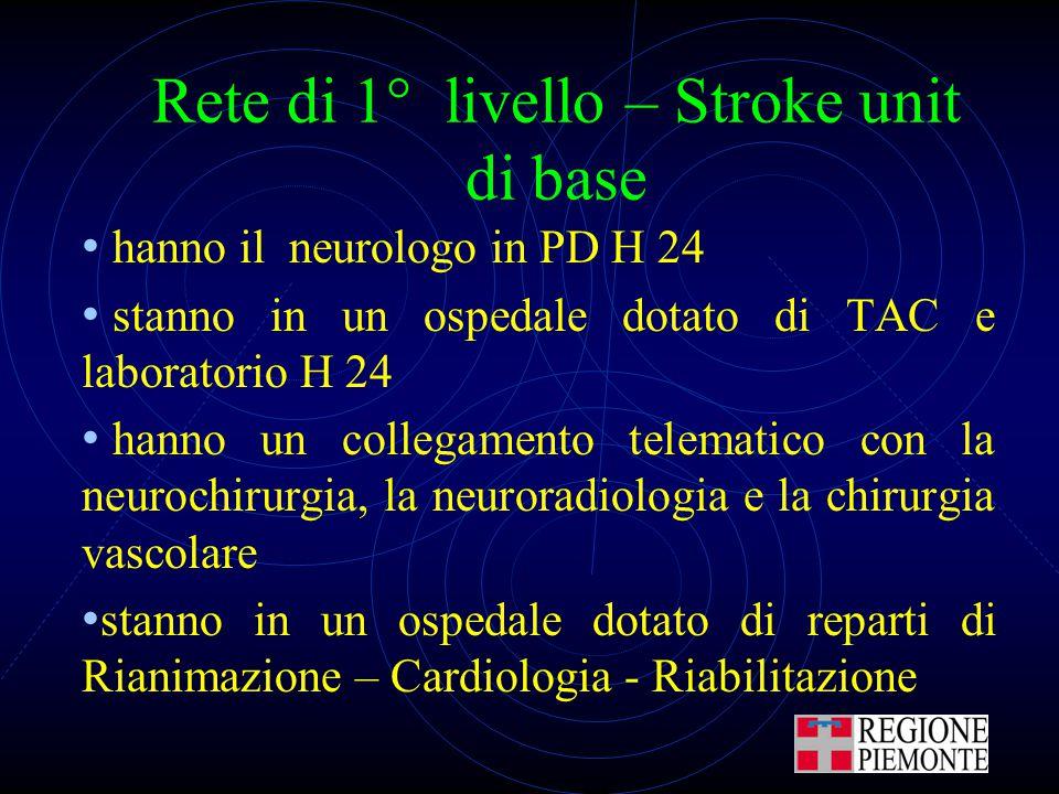 Rete di 1° livello – Stroke unit di base hanno il neurologo in PD H 24 stanno in un ospedale dotato di TAC e laboratorio H 24 hanno un collegamento te