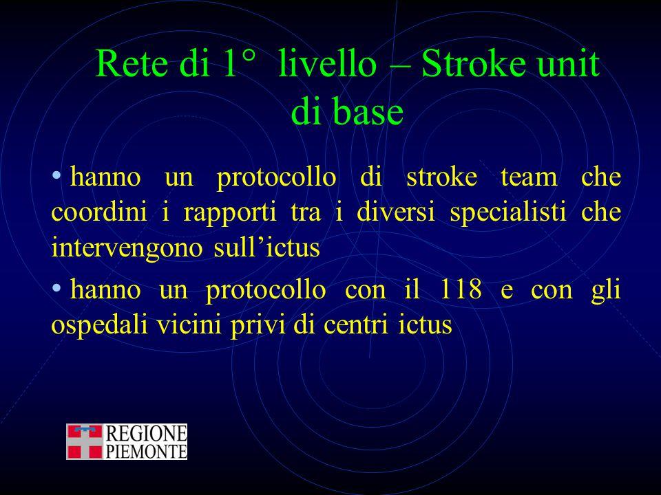 Rete di 1° livello – Stroke unit di base hanno un protocollo di stroke team che coordini i rapporti tra i diversi specialisti che intervengono sull'ic