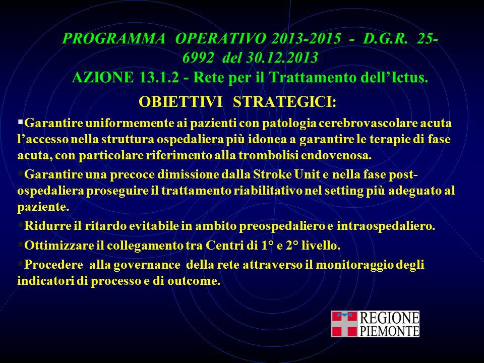 PROGRAMMA OPERATIVO 2013-2015 - D.G.R. 25- 6992 del 30.12.2013 AZIONE 13.1.2 - Rete per il Trattamento dell'Ictus. OBIETTIVI STRATEGICI:  Garantire u