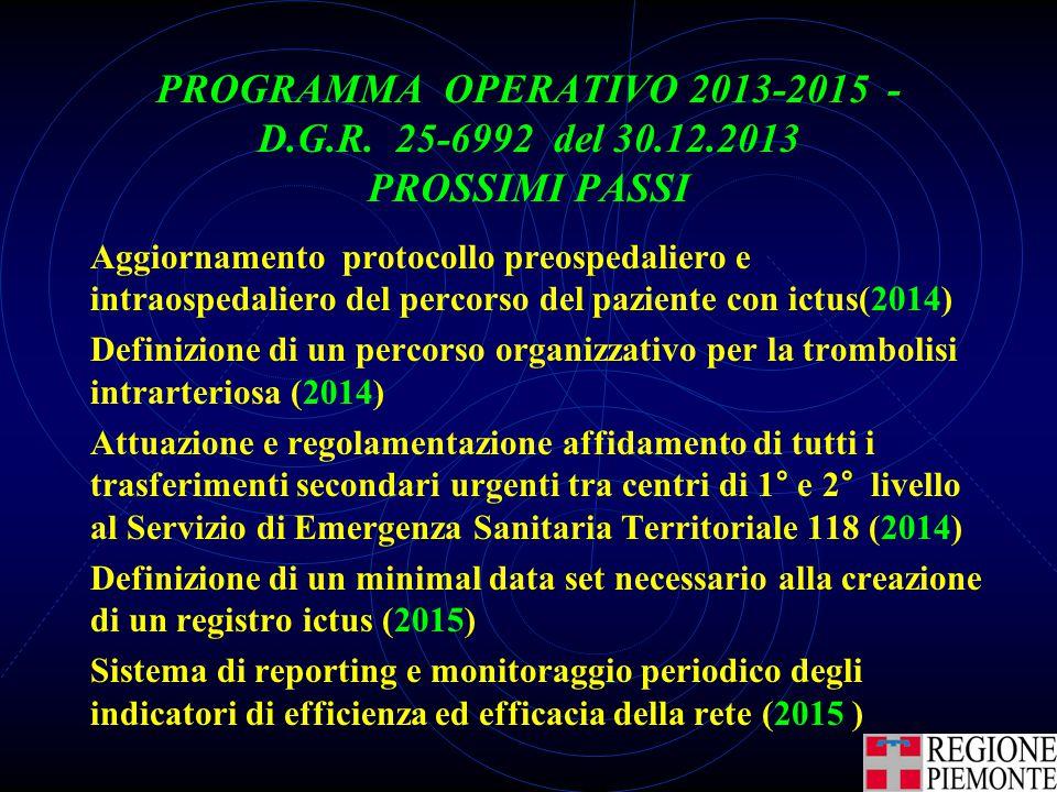 PROGRAMMA OPERATIVO 2013-2015 - D.G.R. 25-6992 del 30.12.2013 PROSSIMI PASSI Aggiornamento protocollo preospedaliero e intraospedaliero del percorso d