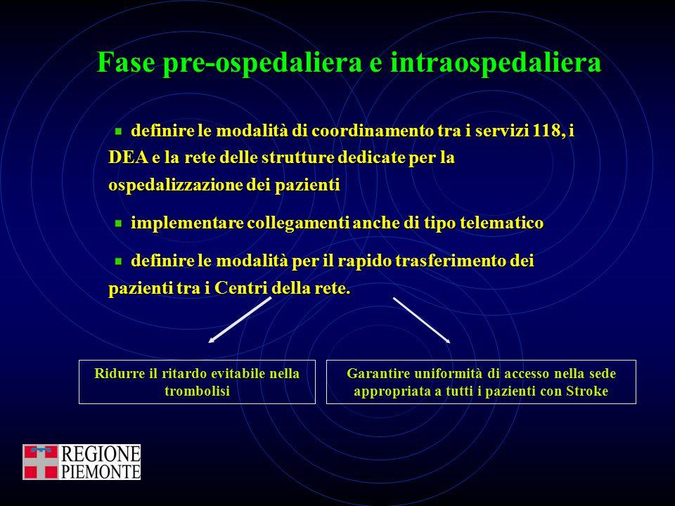 Fase pre-ospedaliera e intraospedaliera definire le modalità di coordinamento tra i servizi 118, i DEA e la rete delle strutture dedicate per la osped
