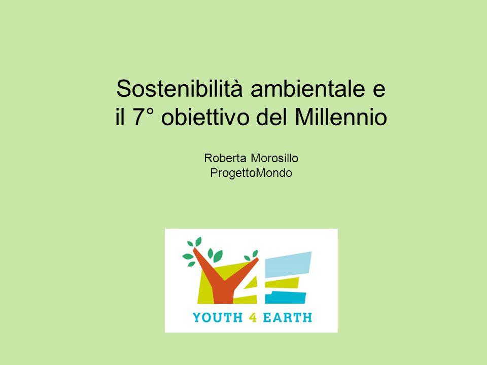 Sostenibilità ambientale e il 7° obiettivo del Millennio Roberta Morosillo ProgettoMondo