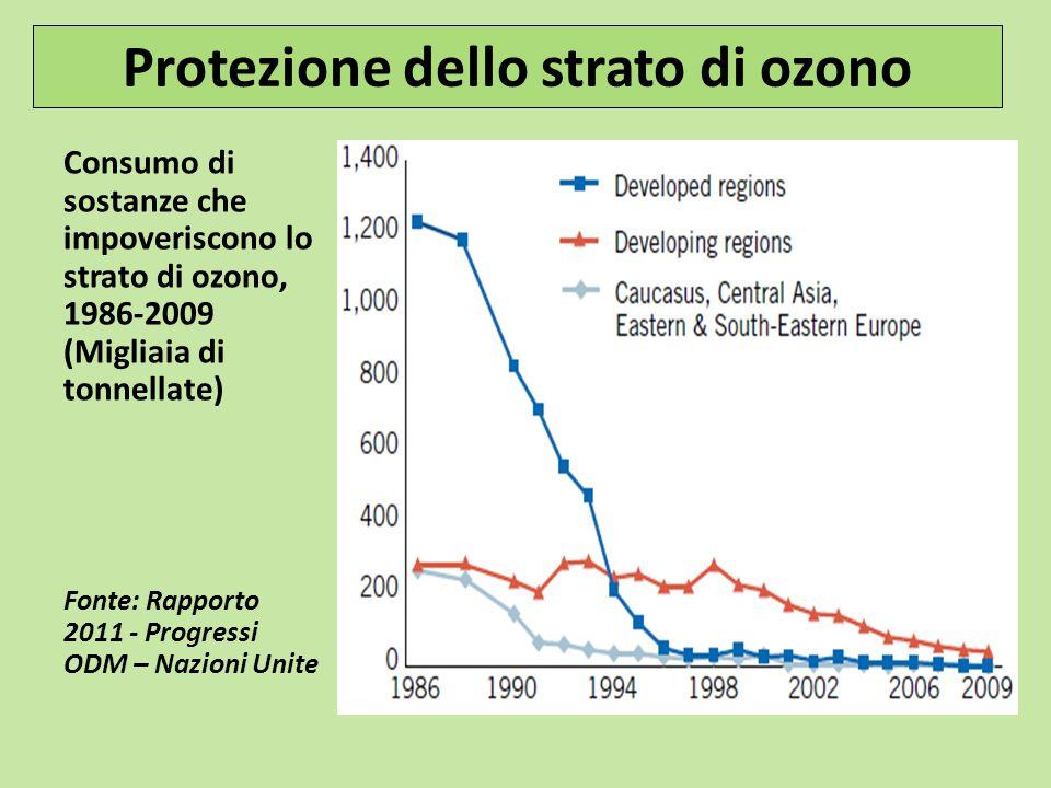 Consumo di sostanze che impoveriscono lo strato di ozono, 1986-2009 (Migliaia di tonnellate) Fonte: Rapporto 2011 - Progressi ODM – Nazioni Unite Prot