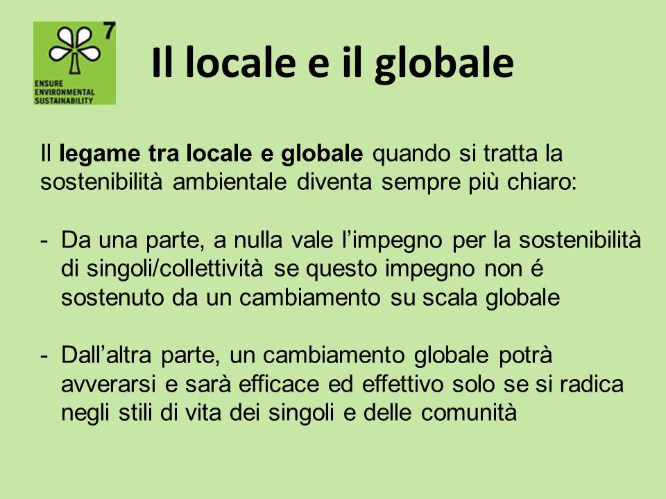 Il locale e il globale Il legame tra locale e globale quando si tratta la sostenibilità ambientale diventa sempre più chiaro: -Da una parte, a nulla v