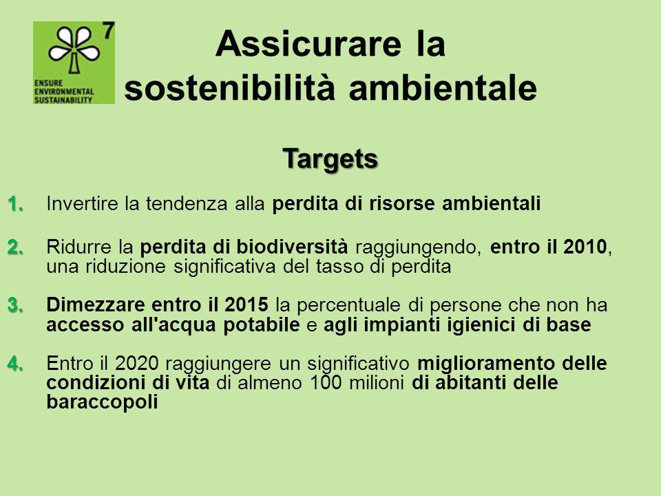 Assicurare la sostenibilità ambientale Targets 1. 1. Invertire la tendenza alla perdita di risorse ambientali 2. 2. Ridurre la perdita di biodiversità
