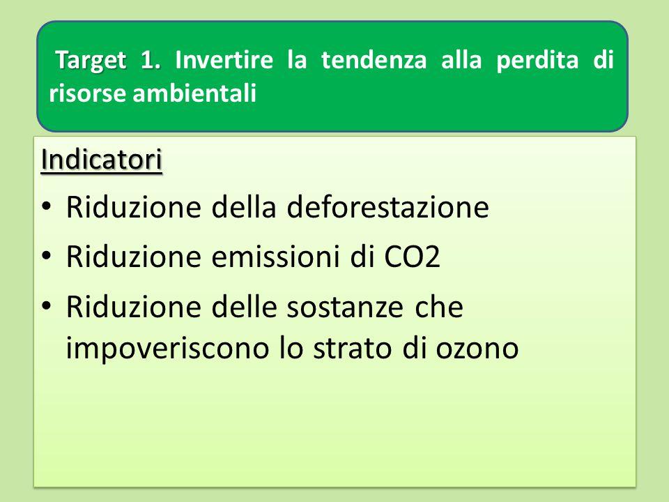 Target 1. Target 1. Invertire la tendenza alla perdita di risorse ambientali Indicatori Riduzione della deforestazione Riduzione emissioni di CO2 Ridu