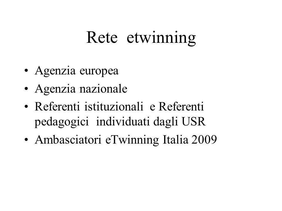 Rete etwinning Agenzia europea Agenzia nazionale Referenti istituzionali e Referenti pedagogici individuati dagli USR Ambasciatori eTwinning Italia 2009