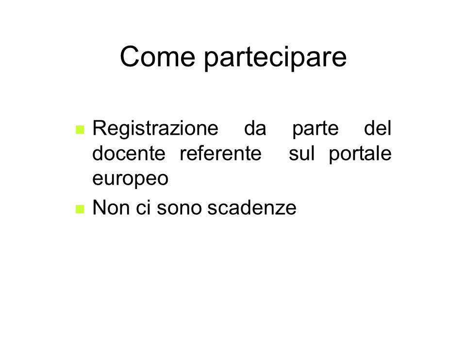 Come partecipare Registrazione da parte del docente referente sul portale europeo Non ci sono scadenze