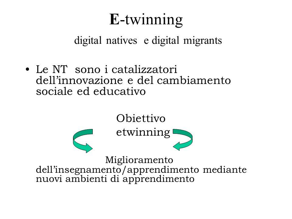 E-twinning digital natives e digital migrants Le NT sono i catalizzatori dell'innovazione e del cambiamento sociale ed educativo Obiettivo etwinning Miglioramento dell'insegnamento/apprendimento mediante nuovi ambienti di apprendimento