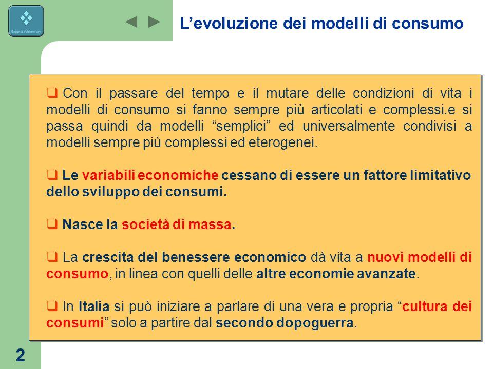 2  Con il passare del tempo e il mutare delle condizioni di vita i modelli di consumo si fanno sempre più articolati e complessi.e si passa quindi da modelli semplici ed universalmente condivisi a modelli sempre più complessi ed eterogenei.