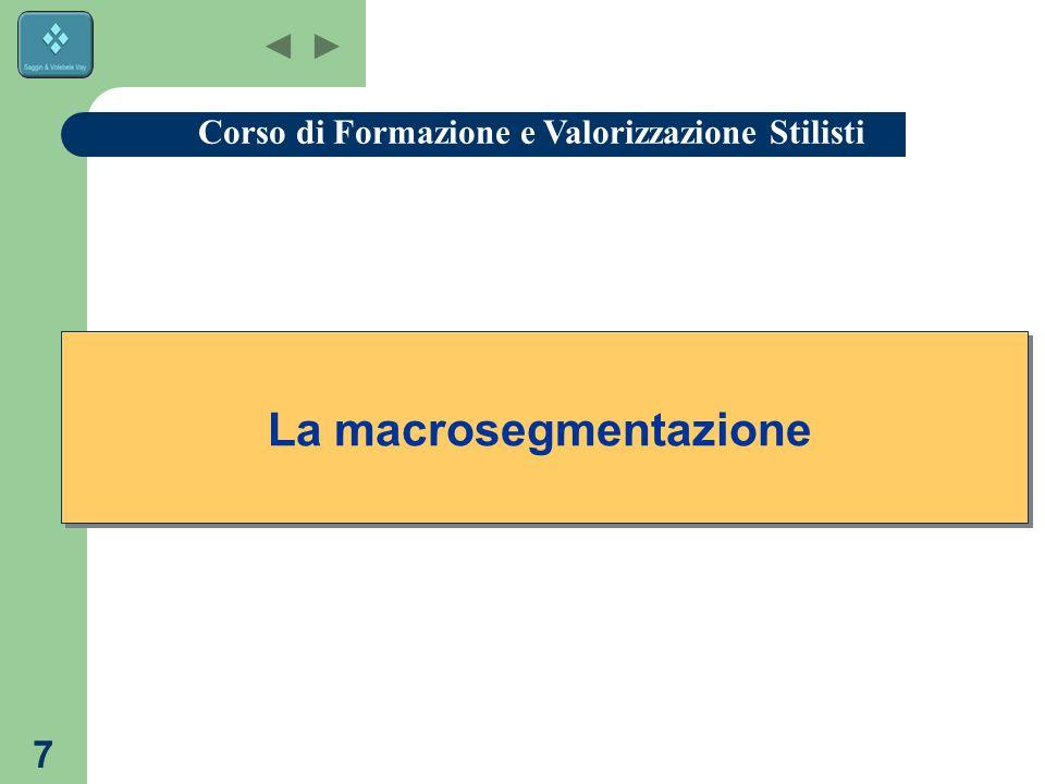 7 La macrosegmentazione Corso di Formazione e Valorizzazione Stilisti
