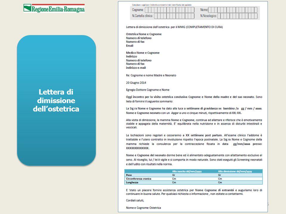 15 Lettera di dimissione dell'ostetrica
