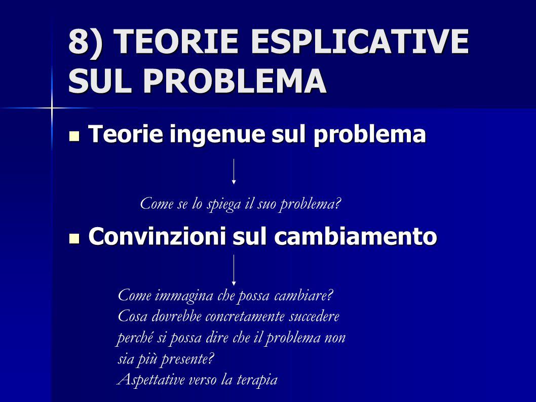 8) TEORIE ESPLICATIVE SUL PROBLEMA Teorie ingenue sul problema Teorie ingenue sul problema Convinzioni sul cambiamento Convinzioni sul cambiamento Com