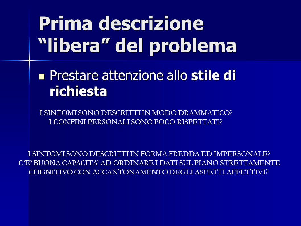 """Prima descrizione """"libera"""" del problema Prestare attenzione allo stile di richiesta Prestare attenzione allo stile di richiesta I SINTOMI SONO DESCRIT"""