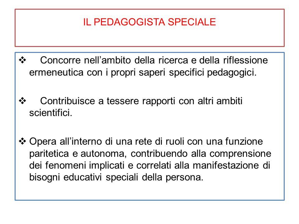 IL PEDAGOGISTA SPECIALE  Concorre nell'ambito della ricerca e della riflessione ermeneutica con i propri saperi specifici pedagogici.