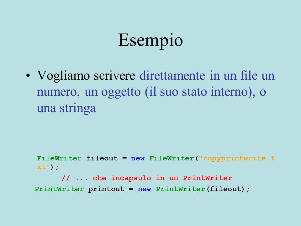 Esempio Vogliamo scrivere direttamente in un file un numero, un oggetto (il suo stato interno), o una stringa FileWriter fileout = new FileWriter( copyprintwrite.t xt ); //...