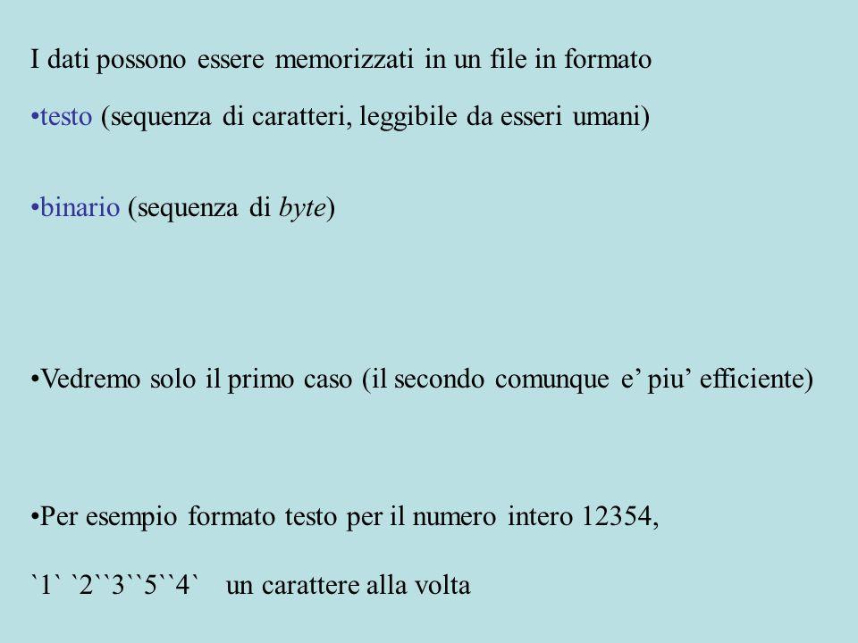 I dati possono essere memorizzati in un file in formato testo (sequenza di caratteri, leggibile da esseri umani) binario (sequenza di byte) Vedremo solo il primo caso (il secondo comunque e' piu' efficiente) Per esempio formato testo per il numero intero 12354, `1` `2``3``5``4` un carattere alla volta