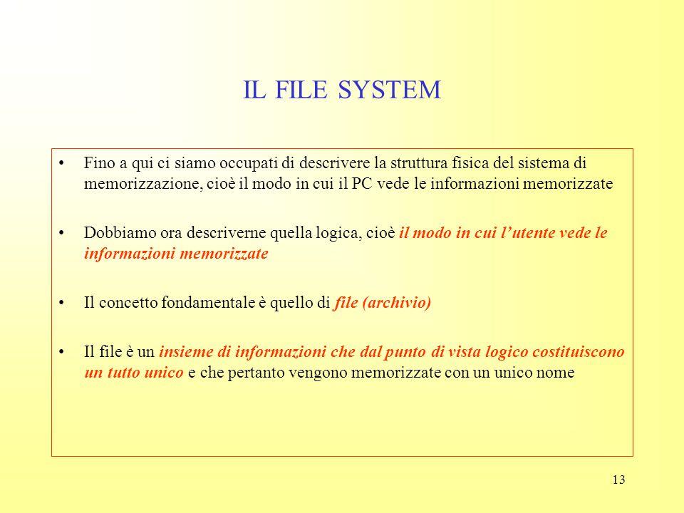 12 INTERPRETE COMANDI L'interprete comandi è il livello dell'interfaccia utente del sistema operativo –Definisce le operazioni che sono utilizza bili