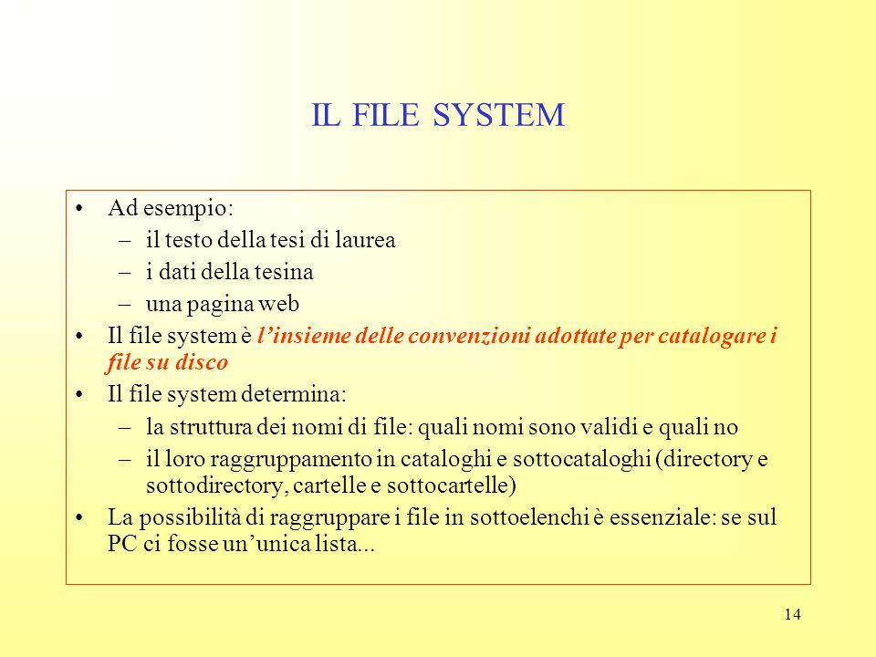 13 IL FILE SYSTEM Fino a qui ci siamo occupati di descrivere la struttura fisica del sistema di memorizzazione, cioè il modo in cui il PC vede le info