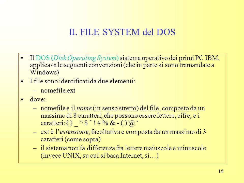 """15 IL FILE SYSTEM Il file system determina quali operazioni dobbiamo fare per capire se su un determinato disco (""""nel computer"""") ci sono i dati e i pr"""