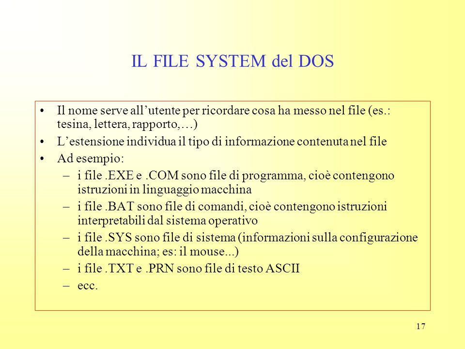 16 IL FILE SYSTEM del DOS Il DOS (Disk Operating System) sistema operativo dei primi PC IBM, applicava le seguenti convenzioni (che in parte si sono t