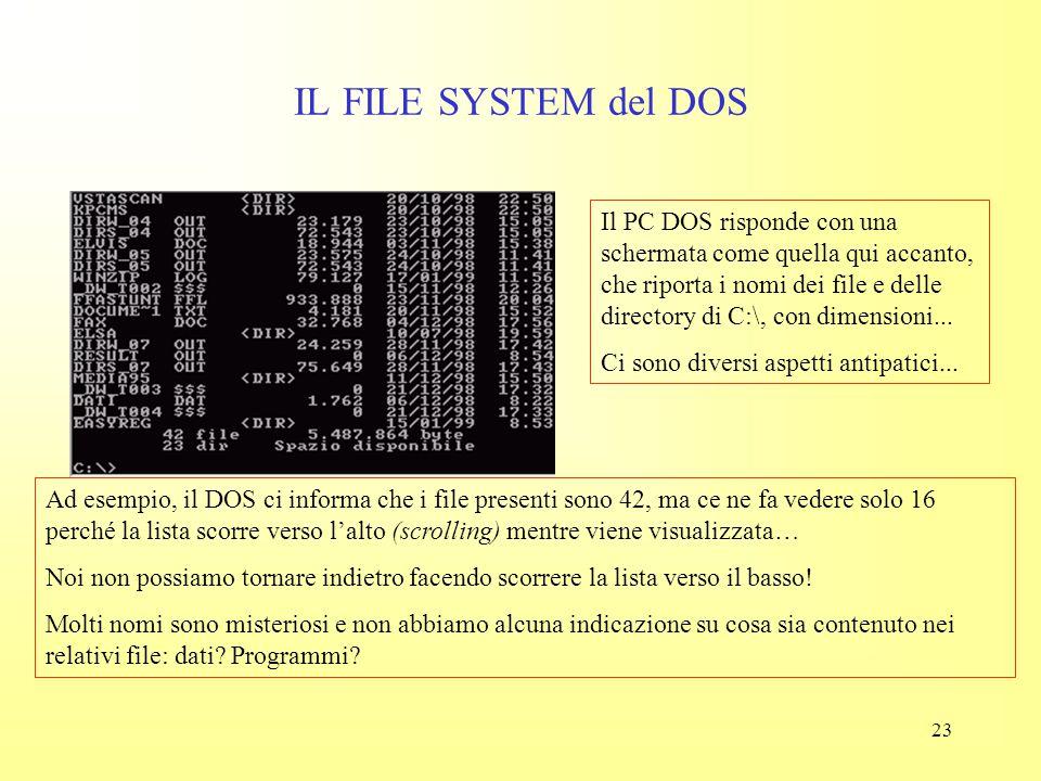 """22 IL FILE SYSTEM del DOS Questa scritta ci """"informa"""" del fatto che qualsiasi cosa faremo la faremo sull'unità C: (il disco rigido) e in particolare n"""