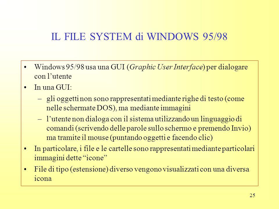 24 IL FILE SYSTEM del DOS Windows 95 introduce una serie di utili perfezionamenti (molti dei quali derivati dal sistema Macintosh) Il file system di W