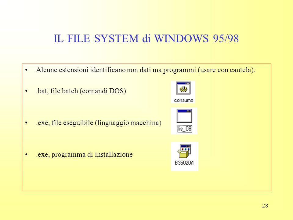27 IL FILE SYSTEM di WINDOWS 95/98.xls, foglio di lavoro Excel (dati).fit, file Microfit (dati).wav, file wave (audio).jpeg (immagine Internet) (alcun