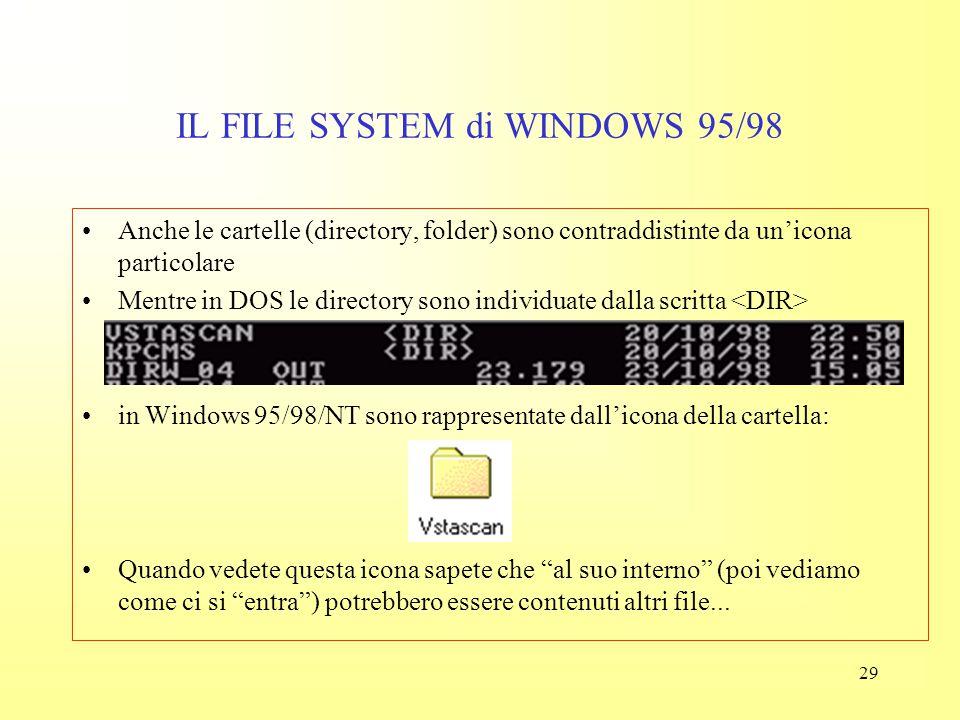 28 IL FILE SYSTEM di WINDOWS 95/98 Alcune estensioni identificano non dati ma programmi (usare con cautela):.bat, file batch (comandi DOS).exe, file e