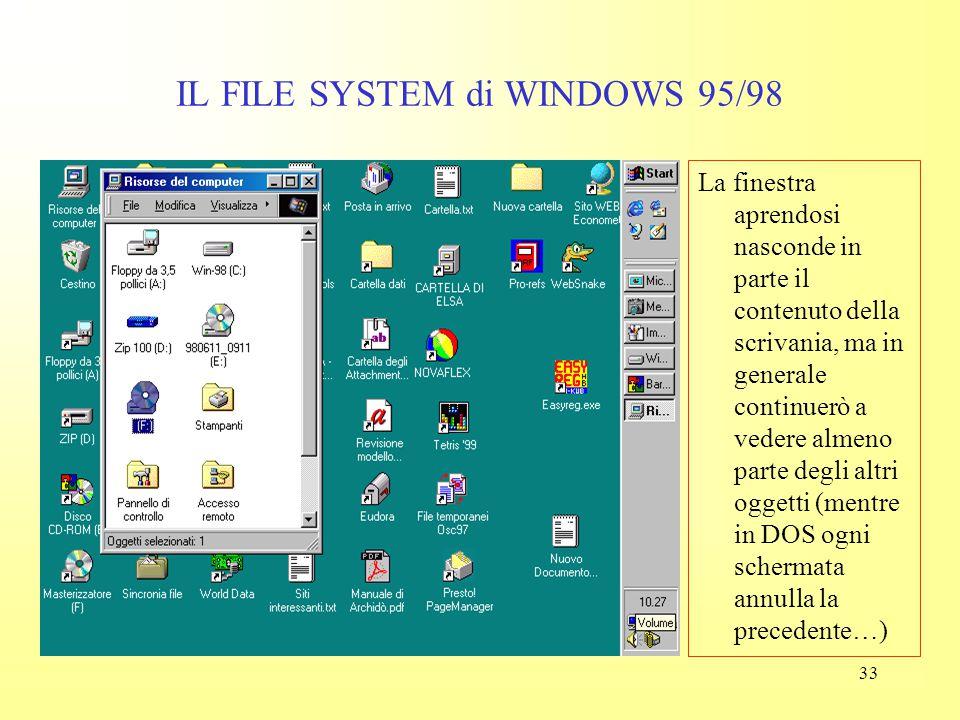 """32 IL FILE SYSTEM di WINDOWS 95/98 Se mi porto col mouse sopra le """"Risorse """" e faccio doppio clic (sinistro) si apre una finestra (window) nella quale"""