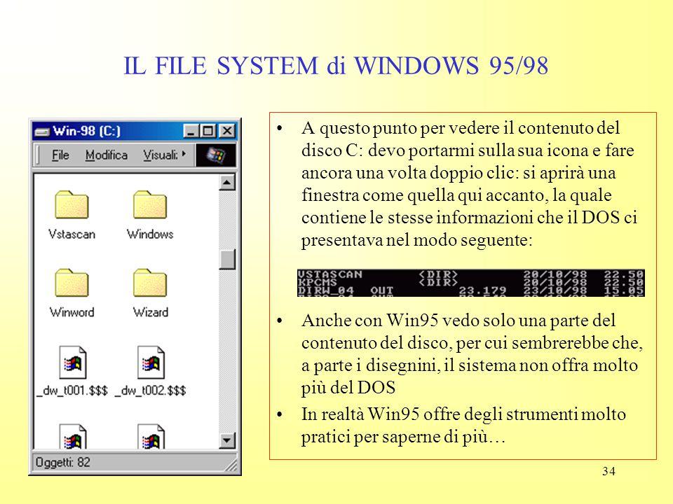33 IL FILE SYSTEM di WINDOWS 95/98 La finestra aprendosi nasconde in parte il contenuto della scrivania, ma in generale continuerò a vedere almeno par