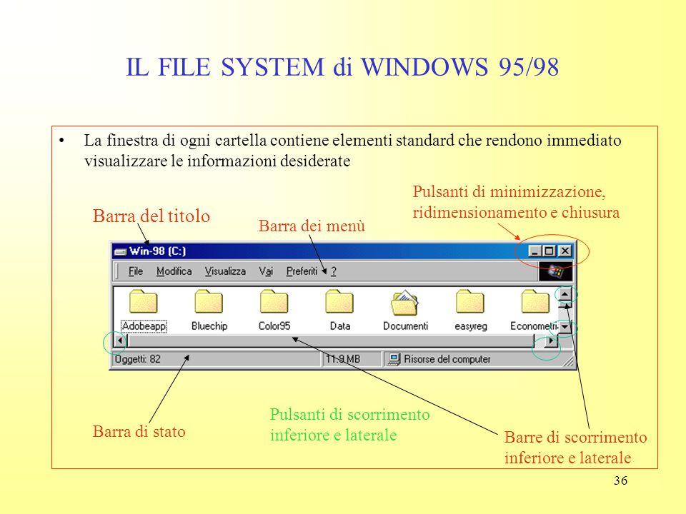 35 IL FILE SYSTEM di WINDOWS 95/98 Innanzitutto, posso ingrandire la finestra, che ora occupa solo una porzione dello schermo. Per fare questo posso u